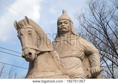 BADALING - FEBRUARY 24:  Stone statue of Ming Dynasty general Qi Jiguang, Shuiguan Great Wall, Badaling, Yanqing, China, February 24, 2016.