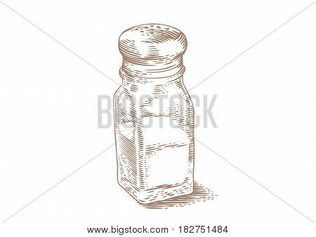 Drawing of isolated glass salt shaker on the white