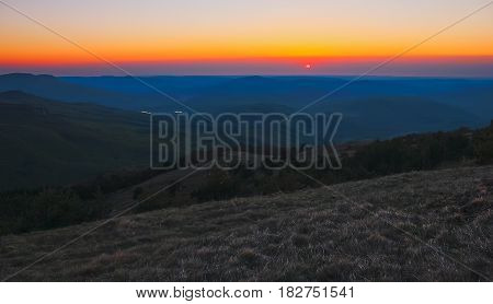 Belt of Venus during sunrise in the mountains