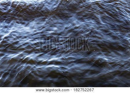 Abstract Close Up Sea Water Being Blown By The Wind Causing Ripples