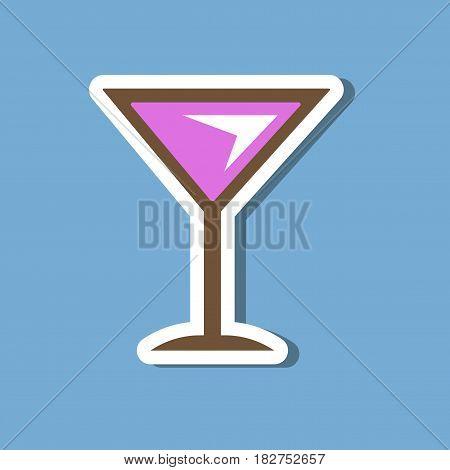 paper sticker on stylish background of martini glass