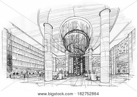 sketch perspective lobby hall black and white interior design.