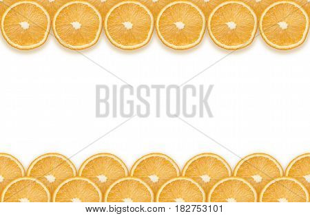 two stripes made from fresh orange slices on top and bottom of blank white background seamless in horizontal direction