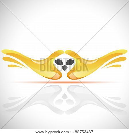 Vector flying bird logo from human's hands. Stock Owl illustration for your design