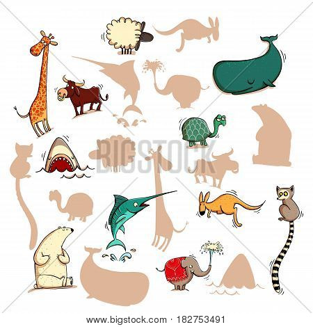 Fun Visual Game: Find the right mirror shadow of each item. Theme: Animals. Illustration is in eps10 vector mode elements are isolated.