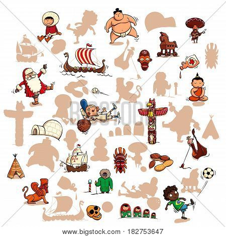 Fun Visual Game: Find the right mirror shadow of each item. Theme: World attractions. Illustration is in eps10 vector mode elements are isolated.