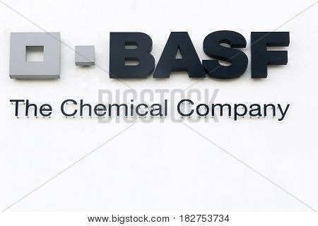 Vejle, Denmark - March 25, 2017: BASF logo on a wall. BASF is a German chemical company and the largest producer in the world