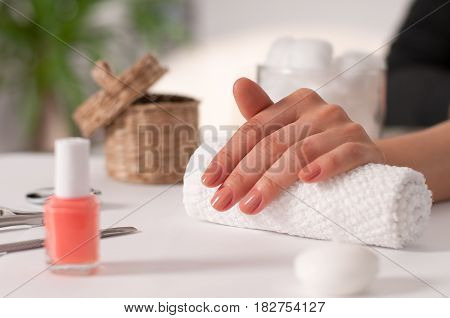 Hand Care. Beautiful Manicure, Woman's Hands In The Spa