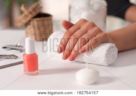 Manicure Concept. Beautiful Woman's Hands In The Spa. Nail Salon