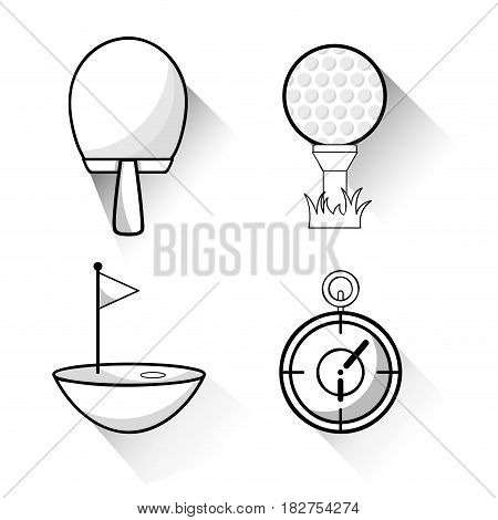 racket, golf ball and chronometer to play game, vector illustration