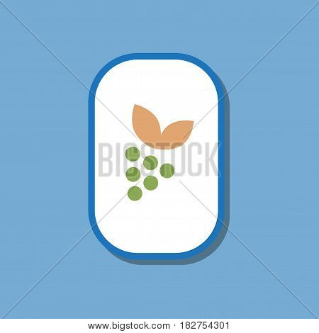 paper sticker on stylish background of grapes with leaf