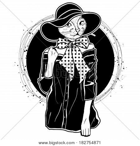 Vector monochrome sketch of female model with cats head wearing jeans, boat shoes, shirt, hat and bow