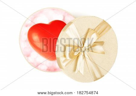 gift box with love heart isolated on white