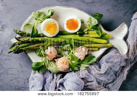 Cooked green asparagus with half boiled egg, salad, red caviar and salmon pate served on white fish shape plate with gauze textile over gray blue texture metal background. Top view, fine dining