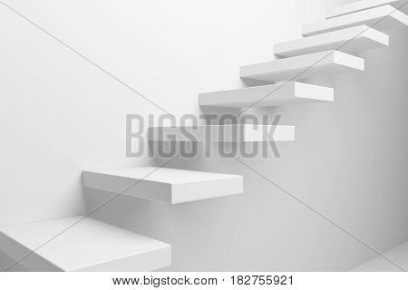 Ascending stairs of white rising staircase going upward closeup view abstract white 3d illustration. Business growth progress way and forward achievement creative concept.