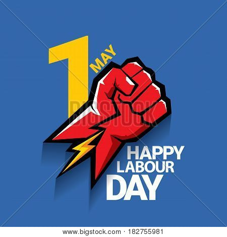 Happy labour day vector label with strong red fist on blue background. vector happy labor day background or banner with man hand. workers day poster