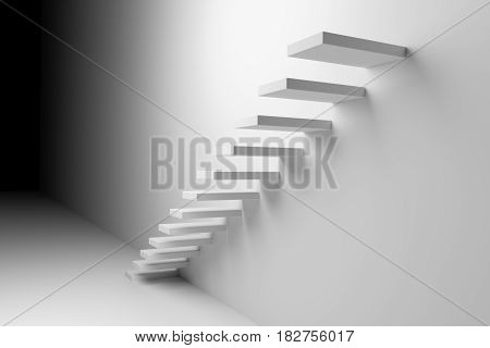 White ascending stairs of rising staircase going upward in dark empty room abstract white 3d illustration. Business growth progress way and forward achievement creative concept.