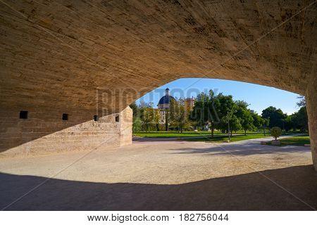 Valencia Trinidad Trinitat bridge in Turia gardens park at Spain