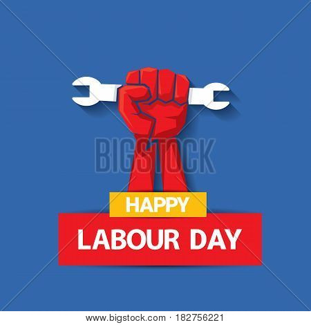 Happy labour day vector label with strong red fist on blue background. vector happy labor day background or banner with man hand. workers day poster poster