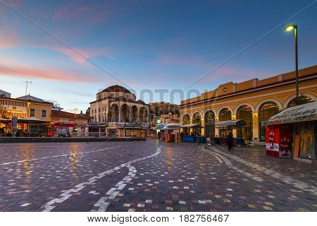 ATHENS, GREECE - APRIL 11, 2017: Monastiraki square in the old town of Athens, Greece on April 11, 2017.