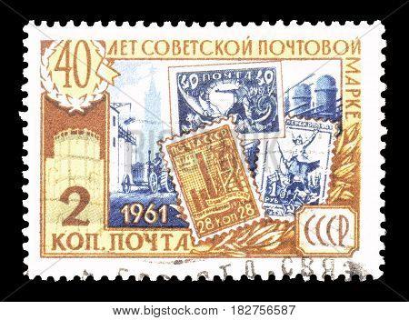 SOVIET UNION - CIRCA 1961 : Cancelled postage stamp printed by Soviet Union, that shows Postage stamps.