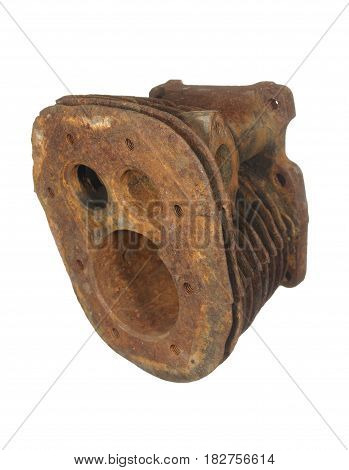 Old rusty cylinder from an old motorcycle engine isolated on a white background.