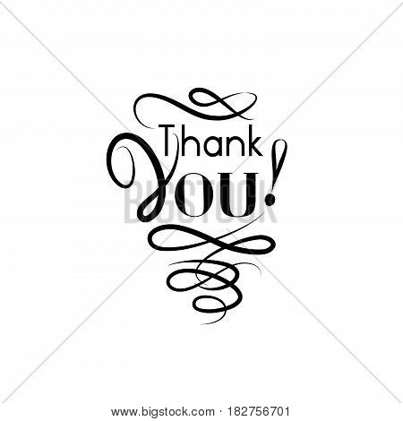 Thank you card with handwritten lettering and swirl line calligraphic vignette decor