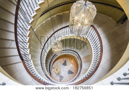 Top view of luxury vintage spiral staircase