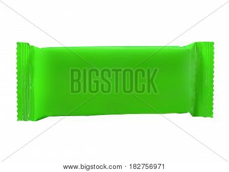 Top view of plastic pouch snack packaging for chocolate wafers on white background