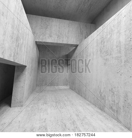 Abstract Empty Concrete Interior With Doorways