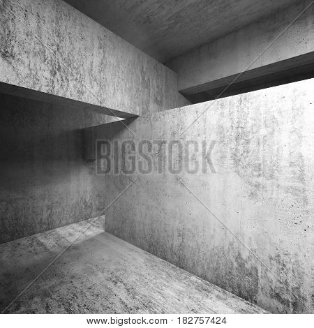 Abstract Empty Concrete Interior, Walls And Ceiling