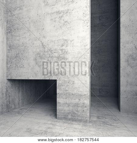 Abstract Empty Square Concrete Interior 3 D