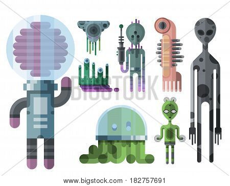Set of different funny cartoon monsters cute alien characters and creature happy illustration devil colorful animal vector. Halloween cool gesture face bacteria or comic viruses.