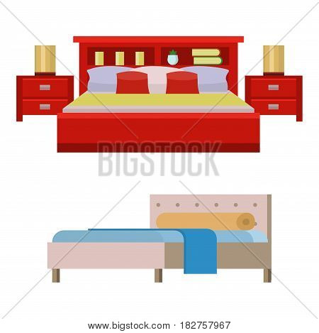 Vector bed icon set interior home rest collection sleep furniture comfortable night illustration. House relaxation information hostel bedtime modern service sign.