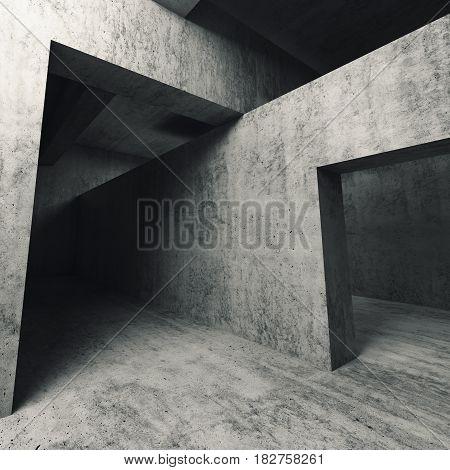3D Empty Concrete Interior, Walls With Doorways