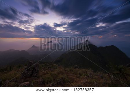 View from the highest mountain peak of Chiang Dao with beautiful cloudy sunset twilight sky, Chiang mai, Thailand