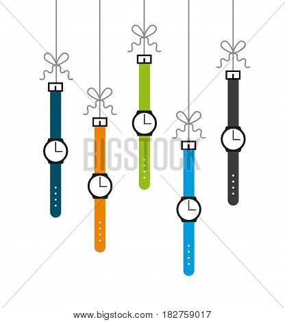 watches hanging over white background. colorful design. vector illustration