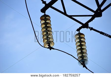 A part of the electricity grid. High voltage. Transmission line Insulators.
