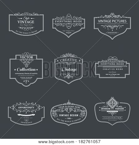 Frame classic template. Vintage contour blank frames and labels. Vintage elements design for cafe, restaurant, boutique, hotel, shop, jewelry. Vector retro elements
