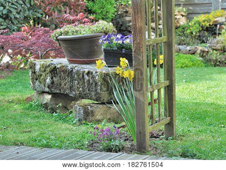 flowerpots on a stone bench in a garden