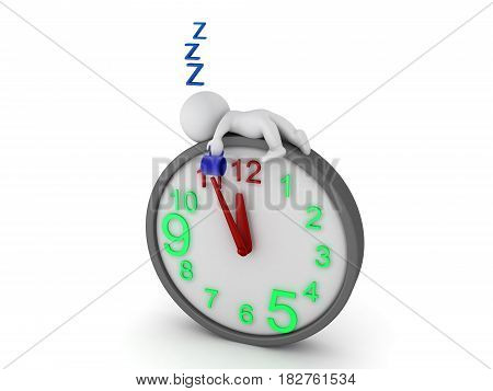 3D Character falling asleep on top of giant clock. Image depicting work exhaustion.
