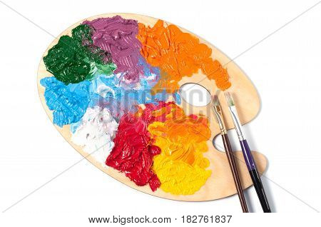 Color art palette with multi coloured paints