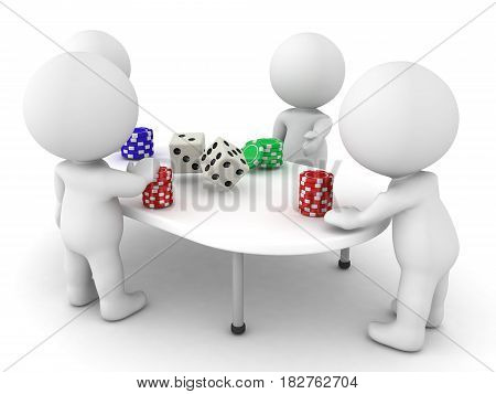 3D Characters playing a gambling game. There are chips and dices on the table.