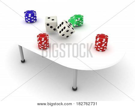 3D Illustration of a gambling table with stacks of chips and dices. There are chip stacks in each four corners.