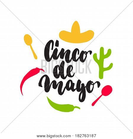 Cinco de Mayo mexican greeting lettering card. Vector illustration with hand drawn sketch jalapeno, cactus, sombrero and maracas