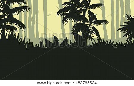 Landscape of jungle with tree silhouette vector art