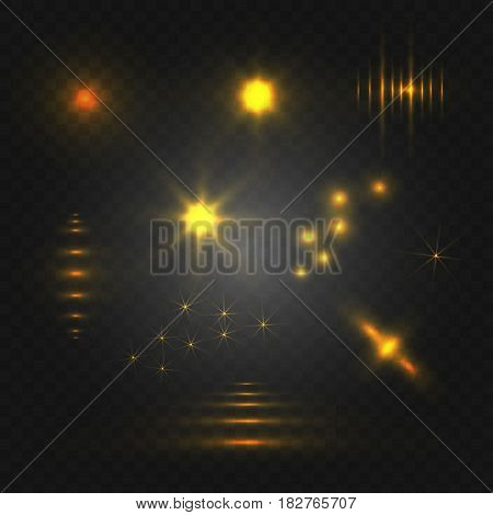 Set of abstract light. VECTOR glowing elements. Yellow isolated on black background