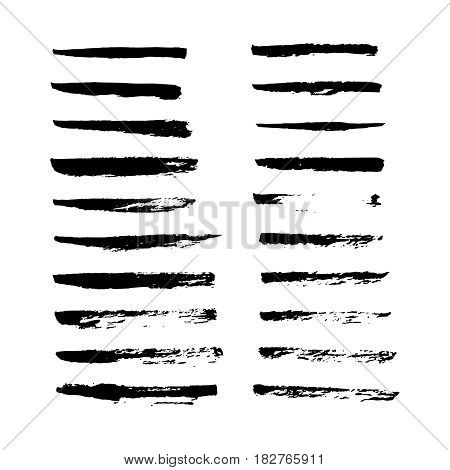 Set of hand drawn grunge brush smears. Paint stripe. Black isolated paintbrush collection. Vector illustration.