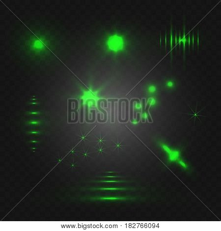 Set of abstract light. VECTOR glowing elements. Green isolated on black background