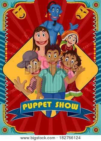 easy to edit vector illustration of Vintage retro Puppet Show banner poster design